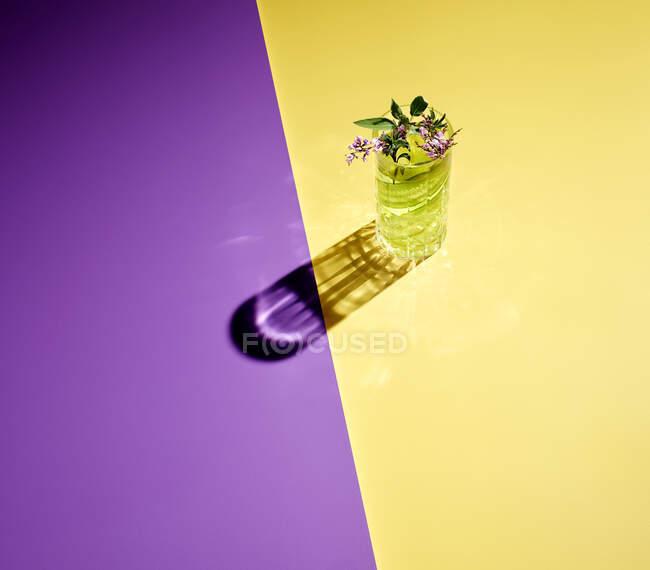 Vista ad alto angolo di gin servito su sfondo colorato — Foto stock