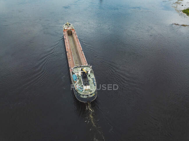 Aerial view of ship in Neva river at Shlisselburg, Russia — Stock Photo