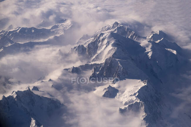 Aerial view of Mont Blanc andGraian Alps — Stock Photo