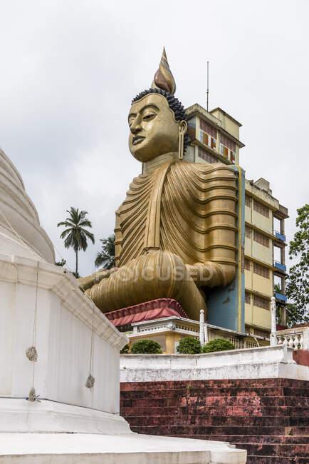 Sri Lanka, Provincia meridionale, Dikwella, statua di Buddha al tempio di Wewurukannala Vihara — Foto stock