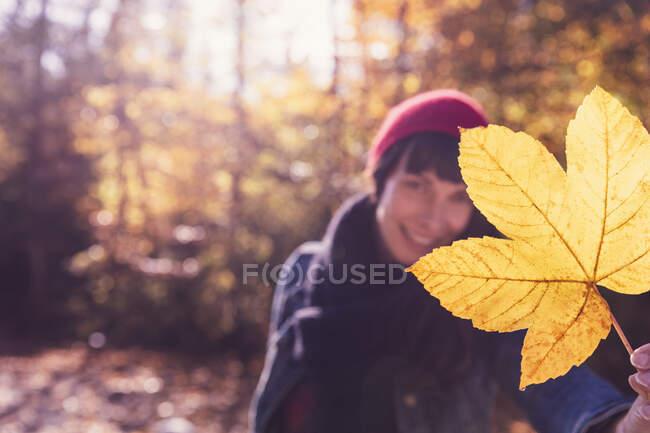 Mujer con sombrero rojo lanudo sosteniendo hoja amarilla de otoño - foto de stock