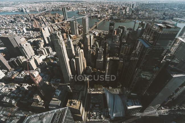 Estados Unidos, Nueva York, Nueva York, Vista aérea de Manhattan y el río Hudson - foto de stock
