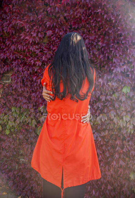 Woman hugging herself, rear view — Stock Photo