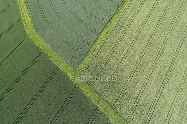 Germany, Bavaria, Franconia, Aerial view of green fields — Stock Photo