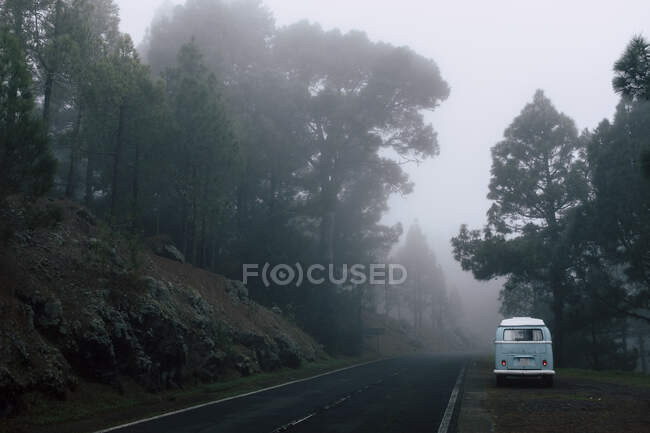 Іспанія, Канарські острови, Тенерифе, Ван припарковано біля туманного шосе. — стокове фото