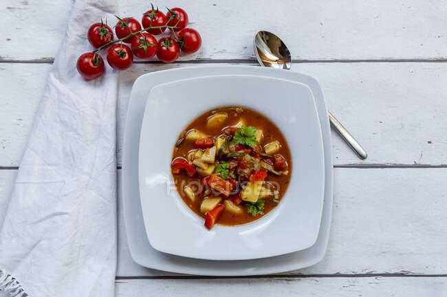 Placa de gulash vegano con papas, pimiento, tomates, puerro y perejil - foto de stock