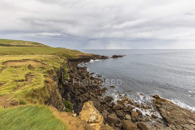 Nueva Zelanda, Oceanía, Isla Sur, Southland, Costa rocosa en Slope Point - foto de stock