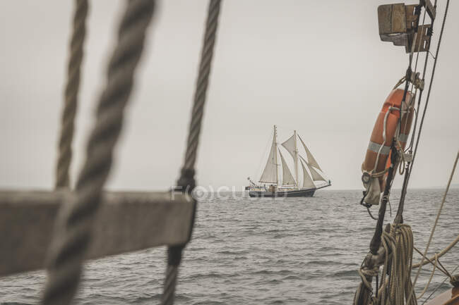 Denmark, Baltic Sea, Traditional sailing ship seen from gaff schooner  — Stock Photo