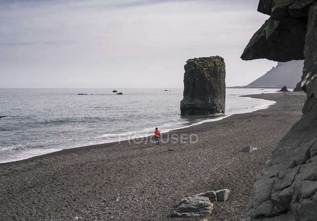 Жінка на березі лави в Південно-Східній Ісландії, дивлячись на море. — стокове фото