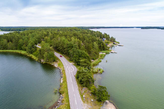 Aerial view of a highway in Loftahammar, Kalmar, Sweden — Stock Photo
