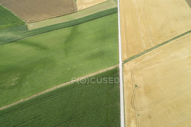Germany, Bavaria, Drone view of country road stretching between green and yellow countryside fields in summer — Stock Photo