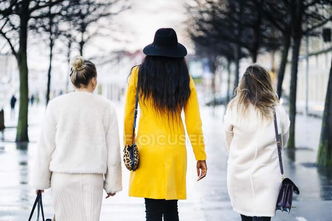 Vista trasera de novias caminando en la ciudad en un día lluvioso - foto de stock