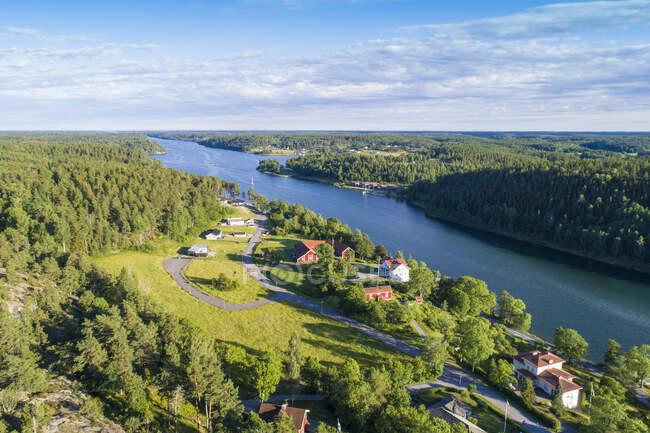 Aerial view of Valdemarsvik in Oestergoetland, Sweden — Stock Photo