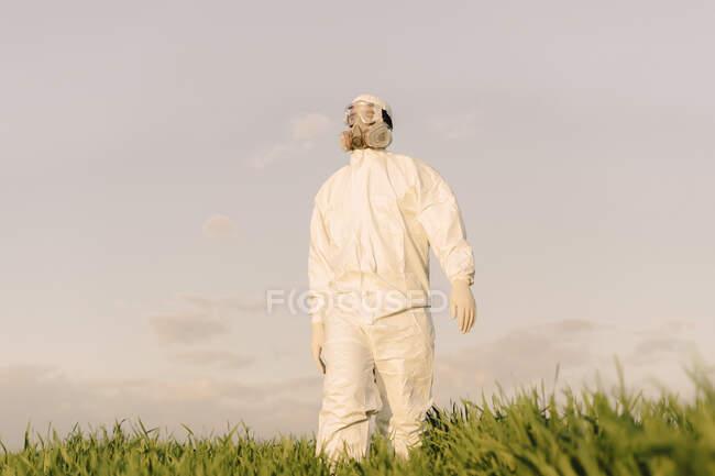 Hombre con traje protector y máscara en un campo - foto de stock