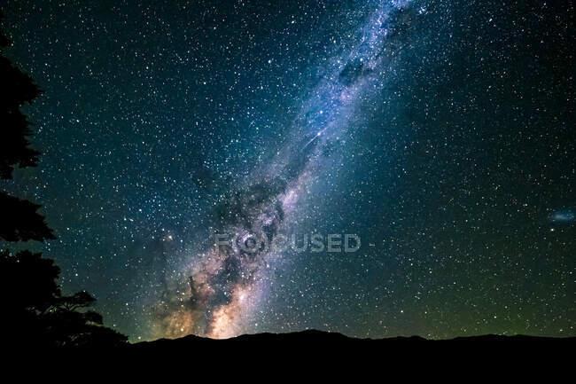 Nouvelle-Zélande, galaxie de la Voie lactée sur ciel étoilé — Photo de stock