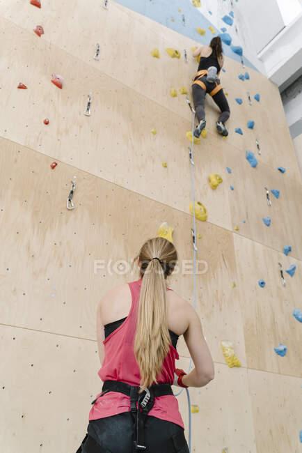 Mulher com uma corda segurando parceiro na parede no ginásio de escalada — Fotografia de Stock