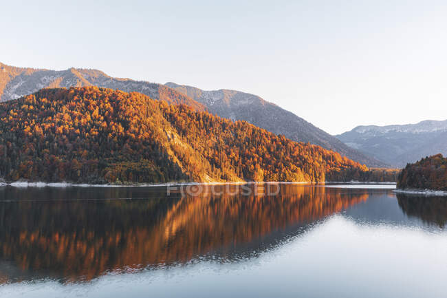 Сценічний вигляд озера Сильвенштейн на тлі безхмарного неба восени (Баварія, Німеччина). — стокове фото