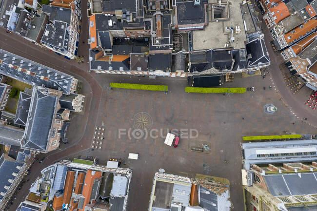 Aerial view of residential buildings in Haarlem city — Stock Photo
