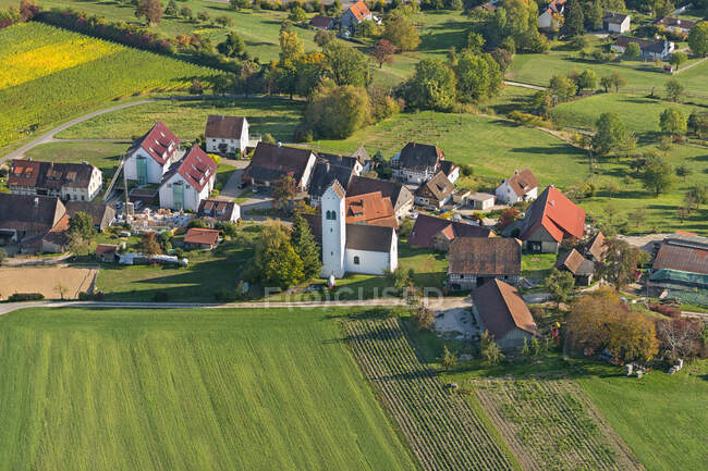Germany, Baden-Wurttemberg, Aerial view of village and fields — стокове фото