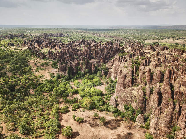 Burkina Faso, Vue aérienne des sommets du Sindou — Photo de stock
