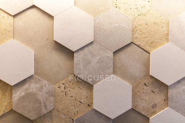 Close-up of geometric natural stone wall — Stock Photo