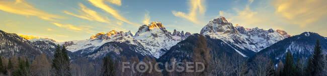 Italy, Trentino, Rendena Valley, Brenta mountain range at sunset in Winter — Stock Photo