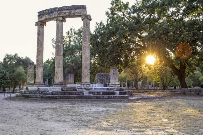 Greece, Olympia, Ruins of ancient Philippeion at sunset — Stock Photo
