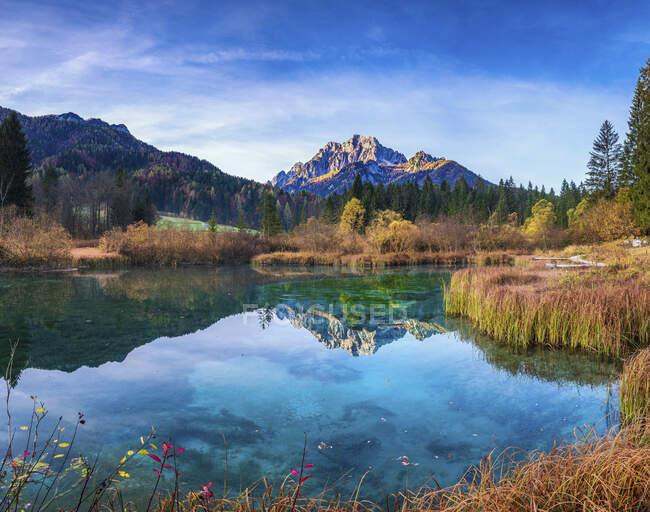 Slovenia, KranjskaGora, Veduta panoramica delle montagne che si riflettono nel lago Zelenci — Foto stock