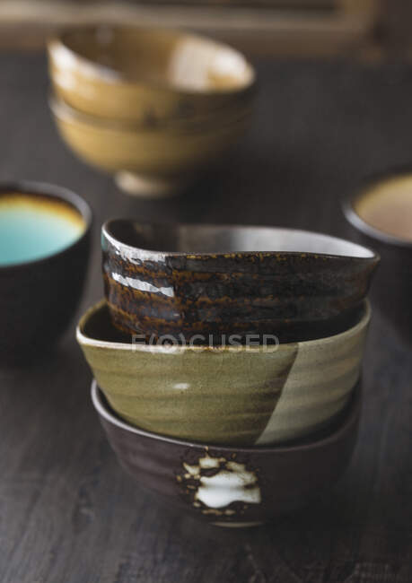 Stack of three different bowls — Stock Photo