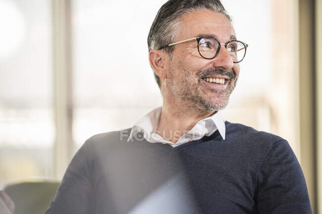 Portrait of a smiling mature businessman in office looking sideways — Stock Photo