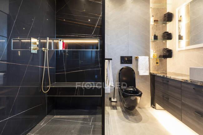Внутрішня частина ванної кімнати в розкішному будинку з чорною туалетом (Лондон, Велика Британія). — стокове фото
