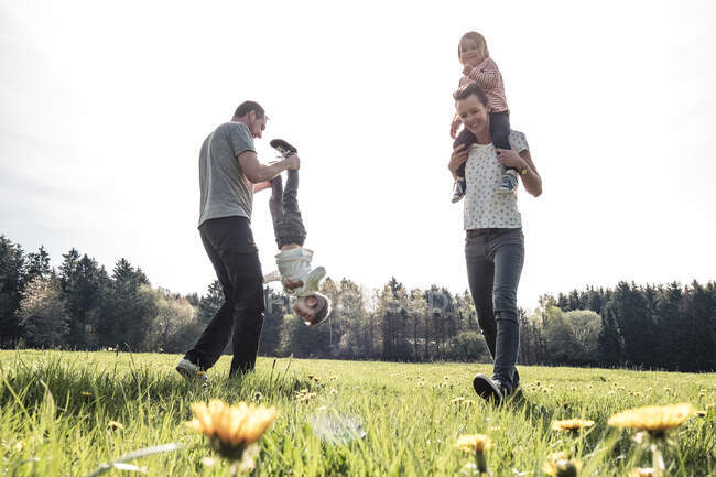 Happy family with two kids having fun on a meadow in spring — Stock Photo