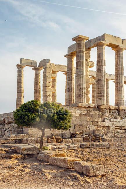 Ancient ruin of Poseidon temple, Cape Sounion, Attika, Greece — Stock Photo