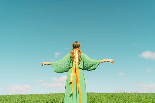 Rear view of young woman wearing a green dress standing in a field with a ribbon around her head — стокове фото