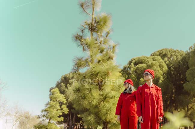 Pareja joven vistiendo monos rojos y sombreros de pie en la naturaleza mirando a la distancia - foto de stock