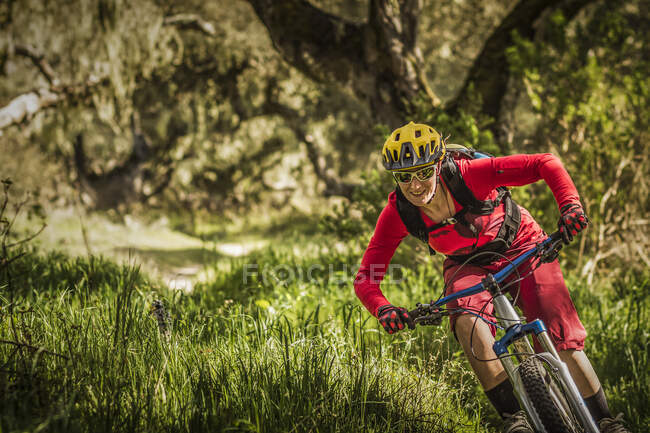 Mujer montando bicicleta de montaña en pista forestal, Fort Ord National Monument Park, Monterey, California, EE.UU. - foto de stock