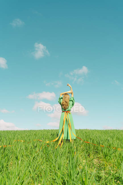 Rear view of young woman wearing a green dress standing in a field with ribbons wrapped around her waist — стокове фото