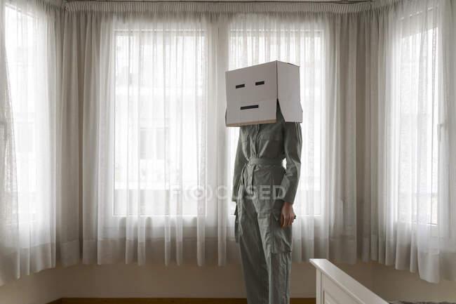 Mujer con una caja de cartón en la cabeza con la cara - foto de stock