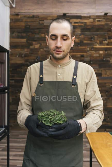 Портрет людини з мікрозеленою рослиною. — стокове фото