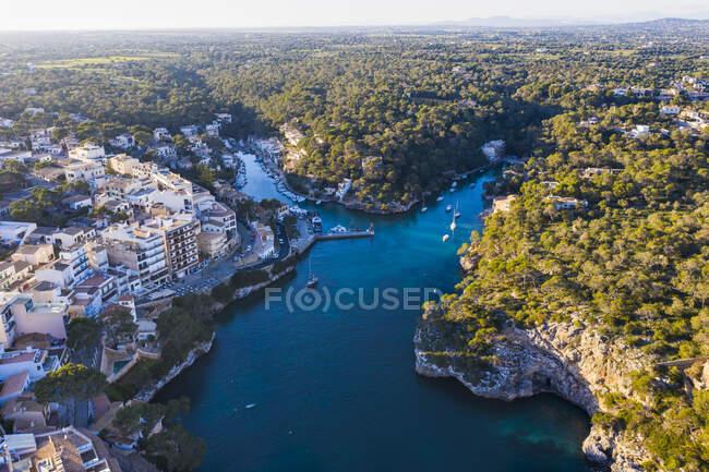 Spagna, Isole Baleari, Santanyi, Veduta aerea del distretto di Cala Figuera — Foto stock