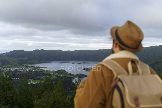 Rear view of man looking at scenic landscape, Sao Miguel Island, Azores, Portugal — Stock Photo