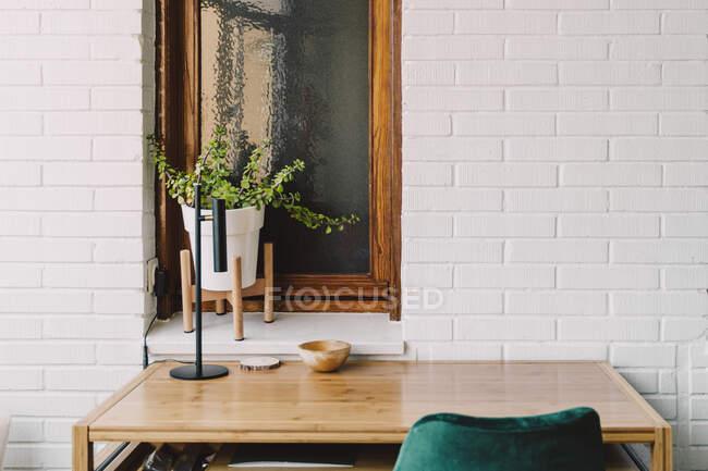 Mesa de madera y silla contra la planta de interior en el alféizar de la ventana en la oficina en casa - foto de stock