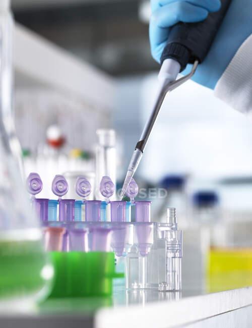 Main coupée d'un scientifique pipitant des échantillons d'ADN dans des flacons pour expérimentation en laboratoire — Photo de stock
