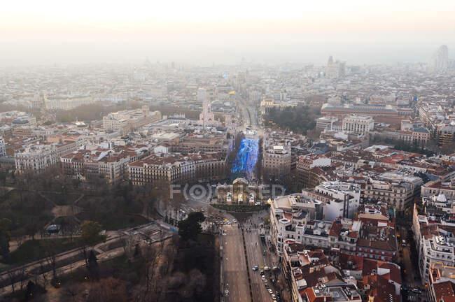 Spagna, Madrid, Veduta in elicottero della Puerta de Alcala arco trionfale — Foto stock