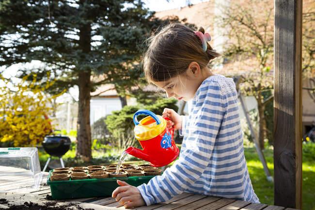 Chica regando plantas en su pequeño invernadero - foto de stock