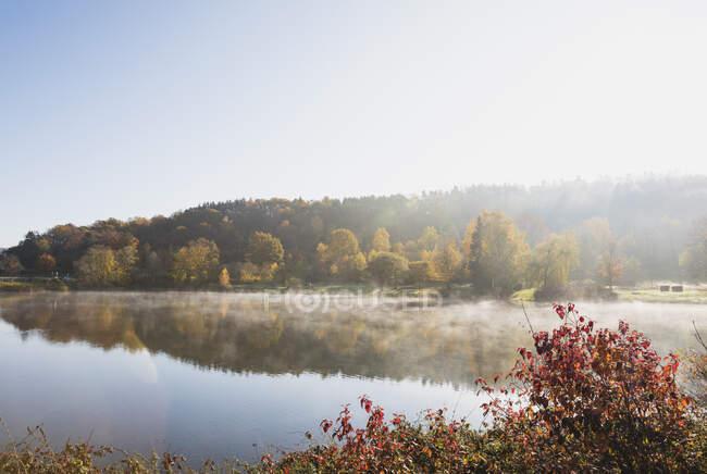 Germania, Renania Settentrionale-Vestfalia, cielo limpido sul lago Eiserbachsee nella soleggiata giornata autunnale — Foto stock