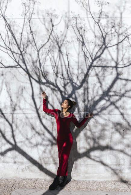 Женщина в красном платье с позой танцора и тени деревьев на стене — стоковое фото