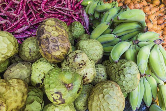 Portugal, Madeira, Funchal, Cherimoya (Annona cherimola) y plátanos en el mercado de los agricultores - foto de stock