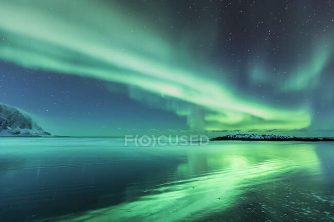 Northern lights above the beach, Berlevag, Norway — Stock Photo