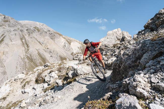 Hombre montando en bicicleta de montaña, Munestertal Valley, Grisons, Suiza - foto de stock